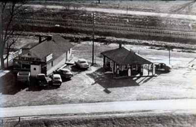 Aerial View of Old Log Cabin Diner
