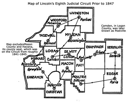 Map of Lincoln's 8th Judicial Circuit Prior to 1847