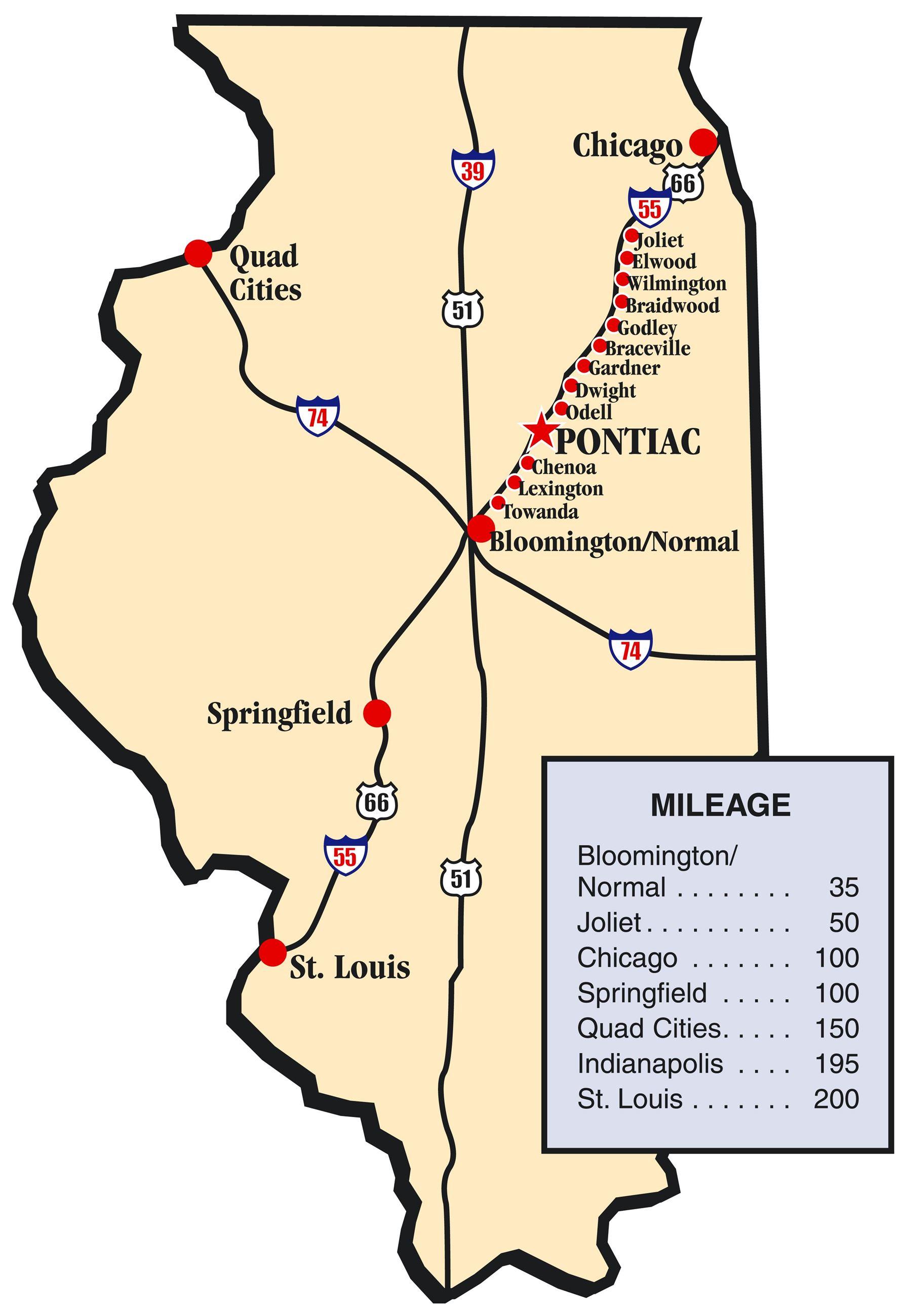 Route 66 Illinois Map Pontiac Tourism, IL