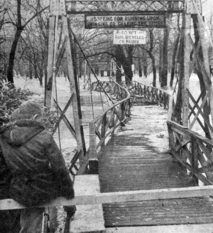 Swinging Bridge in Flood 1957