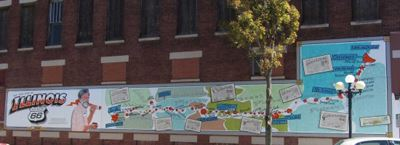 This mural features a map of the entire length of Route 66