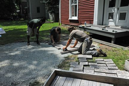 Installing Memorial Brick Walkway
