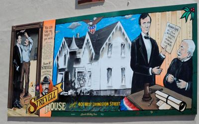 A mural of Abraham Lincoln and Pontiac lawyer Jason Strevell