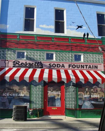 A mural of Roszell's Soda Fountain