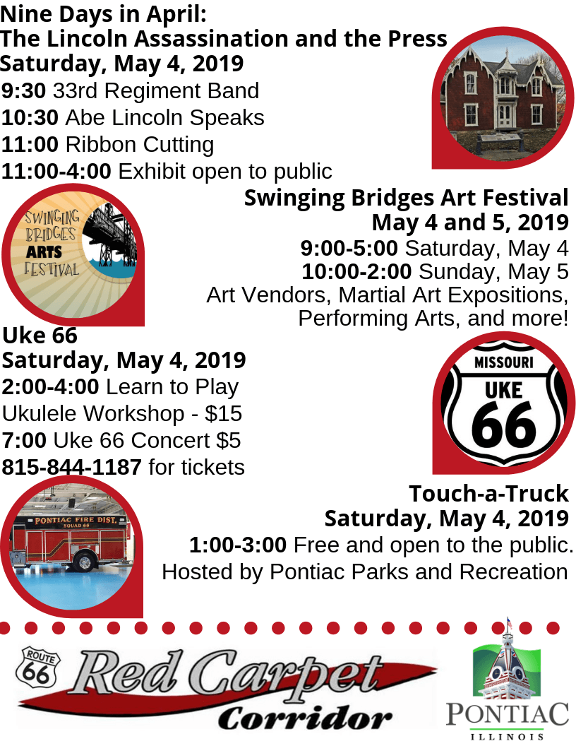 Flier listing events for Pontiac's 2019 Red Carpet Corridor Festival